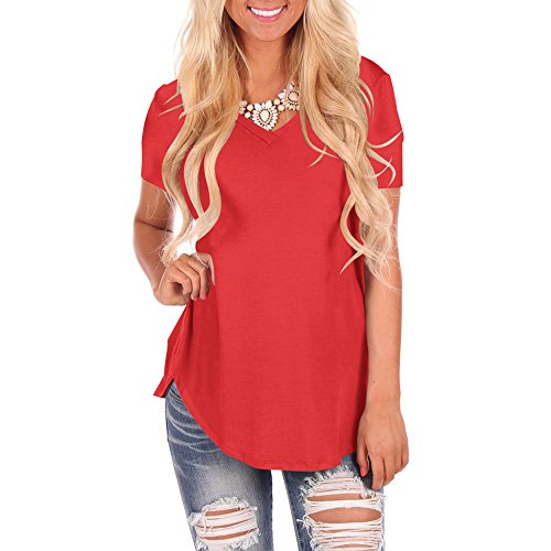 YS.DAMAI Women's V Neck Tee Shirts Short Sleeve Loose Fit Casual Summer Tee Tops (X-Large, Red)