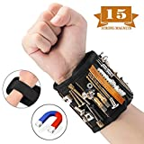 Magnetic Wristband, 15 Super Strong Magnets with Breathable Material, Adjustable Wrist Strap for Holding Screws, Nails, Bolts, Drill Bits and Small Tools - Best Unique Tool Gift for Men, DIY Handyman