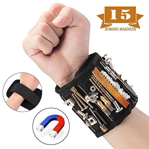 Magnetic Wristband, 15 Super Strong Magnets with Breathable Material, Adjustable Wrist Strap for Holding Screws, Nails, Bolts, Drill Bits and Small Tools - Best Unique Tool Gift for Men, DIY Handyman by SCROOD