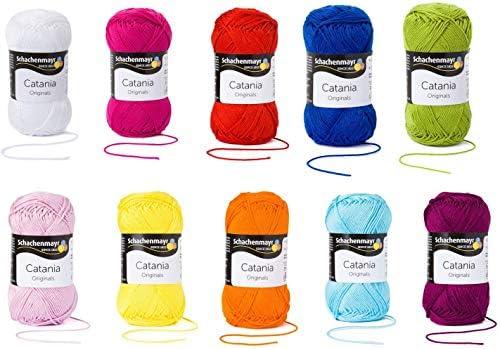 Schachenmayr since 1822 9801210-SET03 Hilo para tejer a mano, 100% algodón, 10 x 50 g. Mezcla de arcoíris, talla única: Amazon.es: Hogar