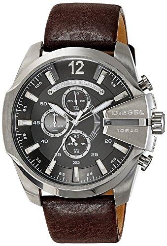 Diesel Men's DZ4290 Mega Chief Stainless Steel Brown Leather Watch
