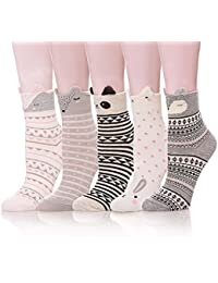 Womens Cute Animal Design Funny Casual Cozy Cotton Crew Socks - 5 Pack