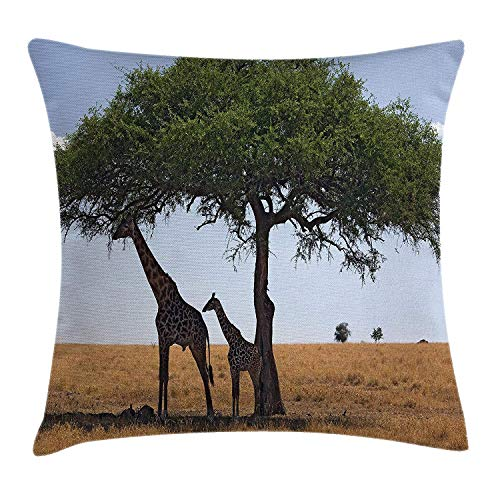 Riolaops Safari Throw Pillow Cushion Cover, Baby and Mom Giraffe Under The Tree The Tallest Animal Mammal in Savannah Nature Art, Decorative Square Accent Pillow Case, 18 X 18 inches, (Best Headphones Under 25s)