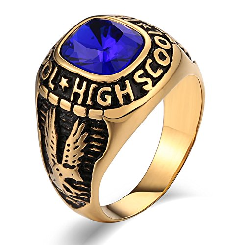 - MoAndy Rings for Men Fashion Rings Stainless Steel Wedding Rings Punk Bands Eagle Blue Cubic Zirconia Blue Size 8