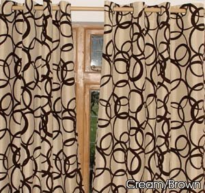 Cream Gold With Black Velvet Circles EYELET FAUX SILK CURTAINS
