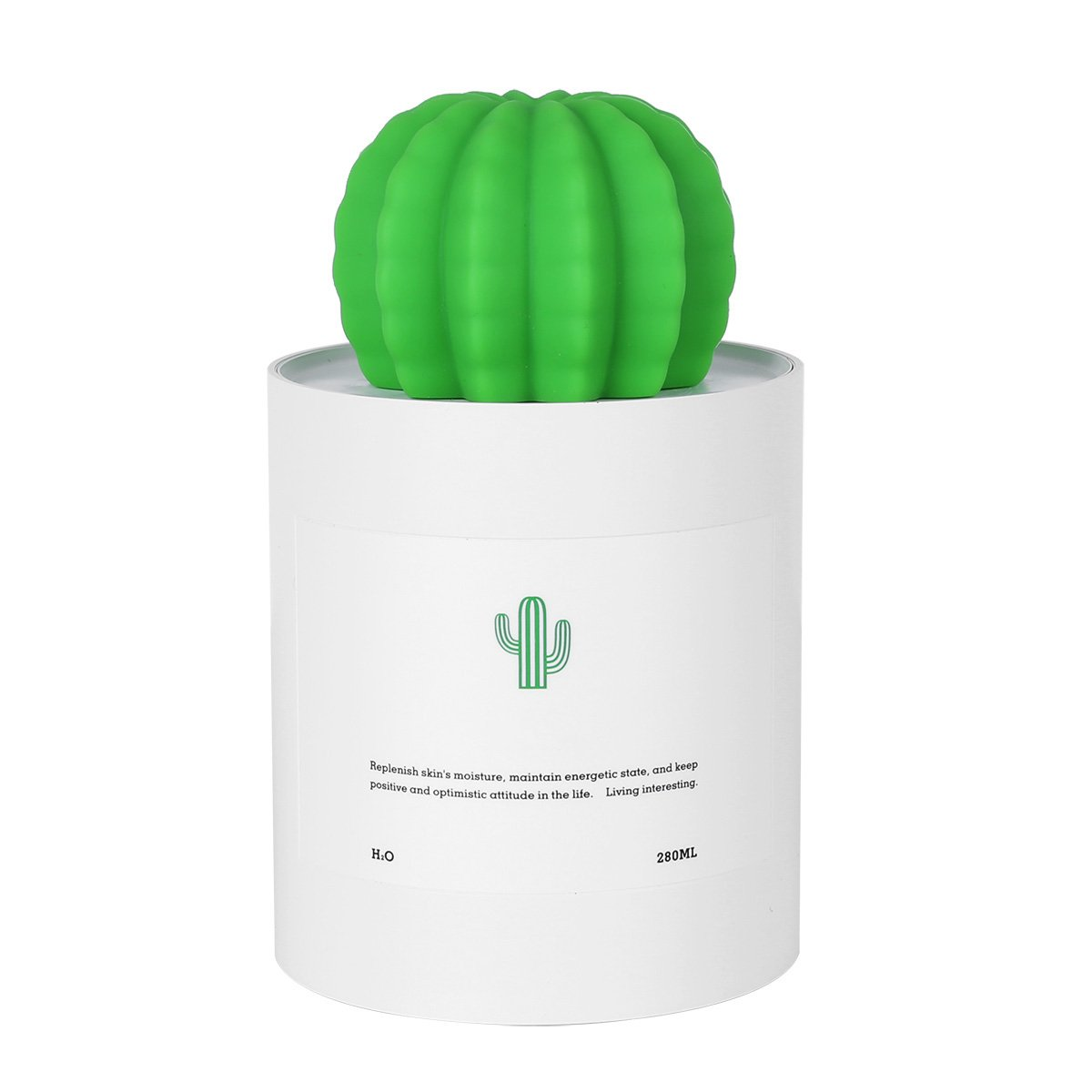 Freebily Portable 280ML Mini Size USB Cactus Humidifier Air Diffuser for Bedroom Baby Room Yoga Office Spa Coffee Bar Travel Desktop White One Size