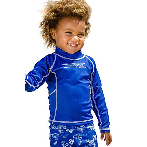 hot sell Sun Emporium Little Boys Navy Multi Panel Long Sleeve Rash Guard 2-6 for sale