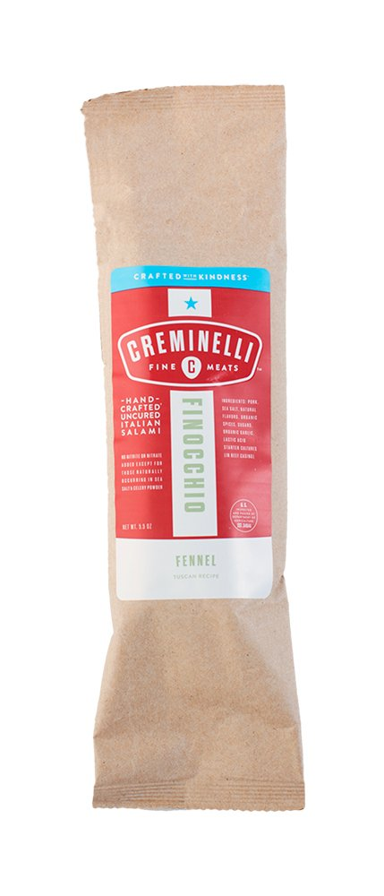 Creminelli Italian Finocchio Salami,  Delicately Flavored, Artisan All-Natural Deli Meat, Fine Sandwich Meat, Hand-Tied Natural Casting, Slowly Cured, 5.5 oz