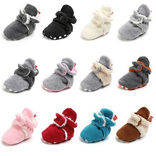 - Sawimlgy Baby Boys Girls Warm Fleece Ankle Booties Soft Sole Non-Skid Sock Shoes Prewalkers Frist Birthday Gift (0-6 Months, A-Gray/Gray)