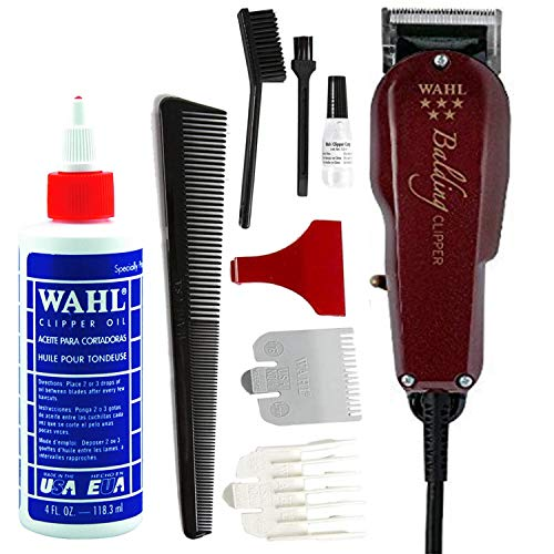 Wahl Professional 5-Star Balding Clipper #8110 - Great for Barbers and Stylists - Cuts Surgically Close for Full Head Balding - Twice the Speed of Pivot Motor Clippers (Bonus Oil)