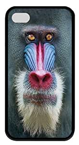 Big Face Mandrill Baboon TPU Case Cover for iPhone 4 and iPhone 4s Black ,Original Design