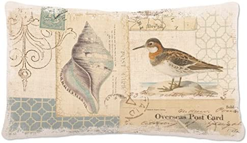 Heritage Lace Shorebirds Pillow, 12 by 20-Inch, Oyster