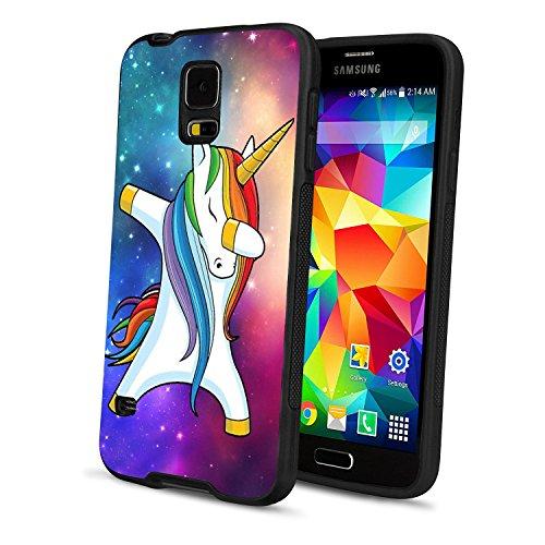 ea9bb3c66d58b Samsung Galaxy S5 Unicorn Case, POKABOO Custom Pattern Anti-Scratch Dual  Layers TPU+PC Sturdy Shockproof Cover Protective Black Phone Case Samsung  ...