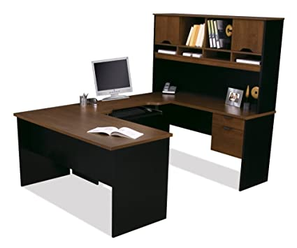amazon com bestar innova u shape desk in tuscany brown and black rh amazon com bestar ridgeley u-shaped desk in dark chocolate and white chocolate bestar ridgeley u-shaped desk