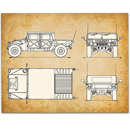 Hummer H1 Patent - 11x14 Unframed Patent Print - Great Garage Decor or Gift Under $15 for Hummer Owners or Veterans