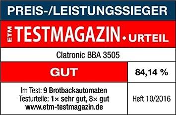 Clatronic BBA 3505 Panificadora programable, Capacidad 1 kg, 12 ...