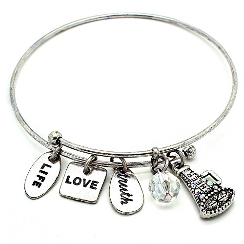 KIS-Jewelry Symbology 'Cheer' Bangle Bracelet, Silver Plated - Expandable Wire Charm Bracelet Accented With Crystal Stones And One Shiny Glass Bead - Perfect Jewelry For (Accented Bangle Bracelet)