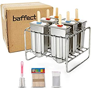 Baffect acciaio inossidabile Popsicle stampo con Stick Holder gelato Mold set di 6 3