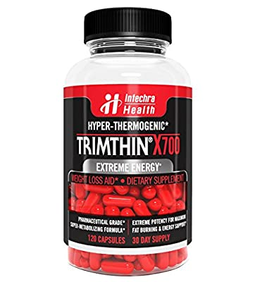 Trimthin® X700 Hyper-Thermogenic Fat Burner With Maximum Appetite Suppression - Extreme Energy & Weight Loss - Made in USA From Clinically Proven Ingredients GMP Certified Highest Quality Guaranteed, 120 Capsules