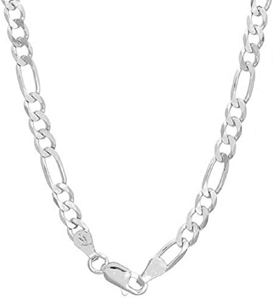 "Authentic Solid Sterling Silver Figaro Link .925 ITProLux Necklace Chains 2MM - 10.5MM, 16"" - 30"", Silver Chain for Men & Women, Made In Italy, Next Level Jewelry"