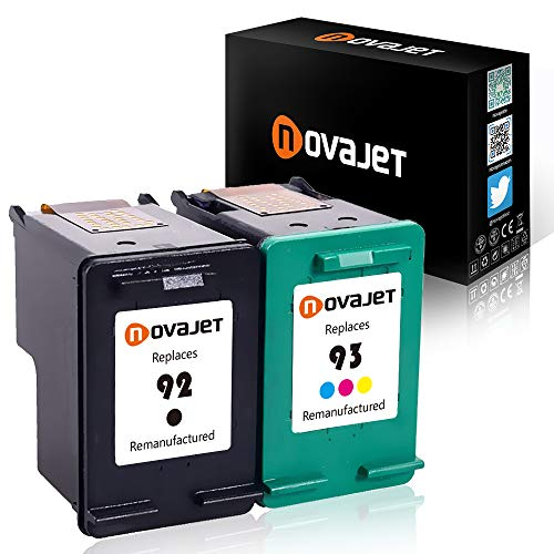 Novajet Remanufactured Ink Cartridge Replacement For HP 92 93 (1Black + 1Color) C9362WN C9361WN For HP Deskjet 5420 5420v 5440 5442 5443 Officejet 6300 6301 6305 6310 (Hp Ink 92 93)