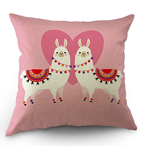 Moslion Llama Decorative Throw Pillow Cover Cute Animal Valentines Day Llamas in Love Heart Ethnic Dress Pillow Case Cotton Linen for Home Sofa Square Cushion 18x18 Inch Pink