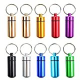 10 Pcs Portable Pill Case, Bantoye Waterproof Aluminum Pill Holders Storage Drug Container with Keychain for Outdoor Camping Traveling, Random Color