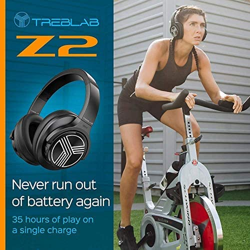 TREBLAB Z2 | Over Ear Workout Headphones with Microphone | Bluetooth 5.0, Active Noise Cancelling (ANC) | Up to 35H Battery Life | Wireless Headphones for Sport, Workout, Running, Gym (Black) 516eImvd0sL