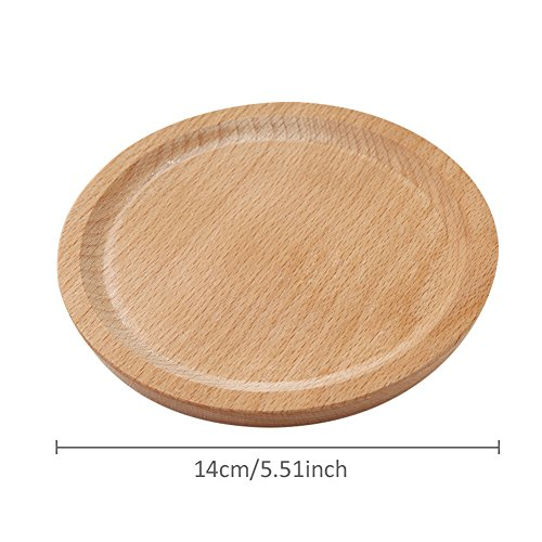 Household Natural Wooden Plate Innovative Beech Coaster Serving Platter Tray Small Plate Wood Baking Tools for Kitchen Dining Room Living Room Cafe Shop Round by jannyshop (Image #6)