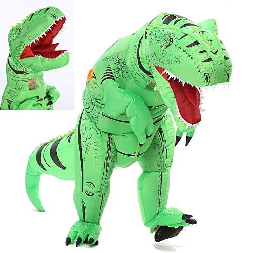 Funny Costumes Inflatable Dinosaur & Unicorn Hoodies Party Dress Halloween Suit (Dino Green L)]()