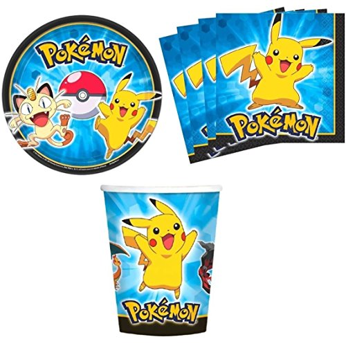 Designware Pokemon Pikachu & Friends Birthday Party Supplies Set Plates Napkins Cups Kit for 16