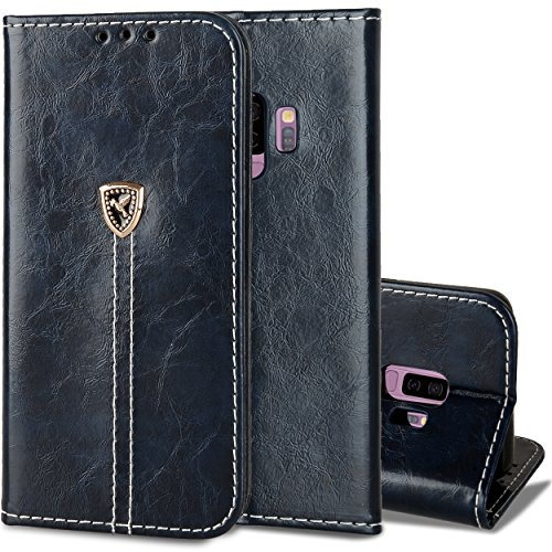 Galaxy S9 Plus Case, Galaxy S9+ Case,Wallet Anti-Scratch Leather Kickstand Magnet Cover Card Holder Flip Full Heavy Duty Protection Book Housing for Samsung S9Plus 2018 6.2 Dark Blue (Not fit GalaxyS9