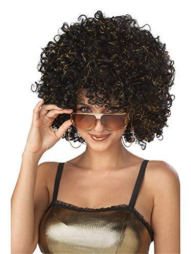 Adult Disco Glitter Wig- Black and -