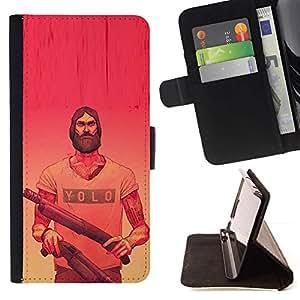 Momo Phone Case / Flip Funda de Cuero Case Cover - Yolo Pink Armas rojas amarillas Barba Armas - LG G2 D800
