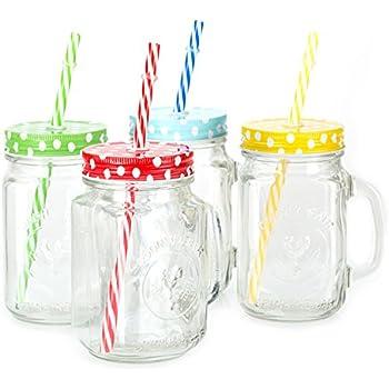 Amazon Com Mason Jar Mugs With Handle Multi Colored Lids