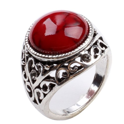 CA Fashion Jewelry Red Turquoise Fashion Ring Size 8