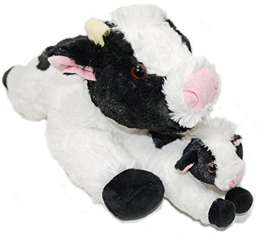 Exceptional Home Super Soft Cows Plush Stuffed Animals Set.18 inch Cow with Baby Calf. Kids Toys. Give Happiness