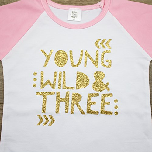 Olive Loves Apple 3rd Birthday Shirt for Girls Young Wild & Three Pink Raglan Short Sleeve by Olive Loves Apple (Image #1)