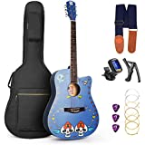 Vangoa - VGKallo 41 inches Full Size Acoustic Guitar Original Painted Style with Gig Bag, Strap, Capo, Aroma Tuner, Picks and Strings