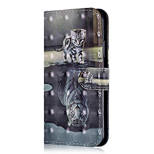 Price comparison product image Galaxy A8 2018 Case,  Bear Village PU Shock-Proof Protective Case with Credit Card Holder Slot,  3D Style Leather Flip Folio Cover for Samsung Galaxy A8 2018 ( 3 Tiger Cat)