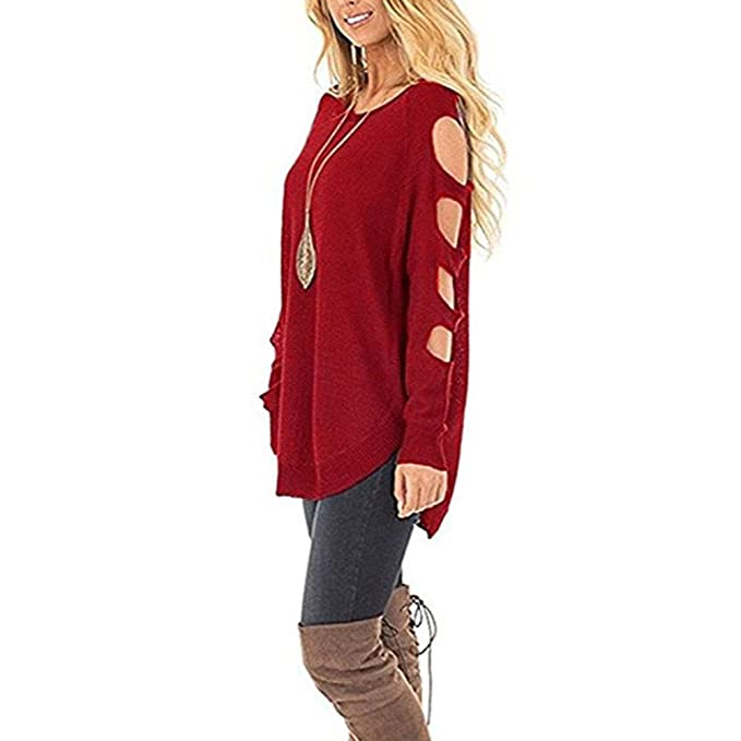 Fuxitoggo Suéter de Punto para Mujer Cuello Redondo Manga Larga Hueco Suelto Jersey Jumper (Color : Beige, tamaño : L): Amazon.es: Hogar