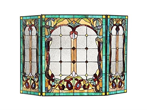 (Victorian Tiffany Style Stained Glass Fireplace Screen)