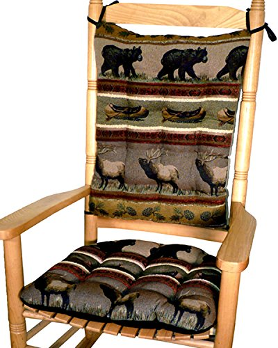 Rocker Cushion Set - Woodlands Northwoods Extra-Large - Seat Cushion with Ties and Back Rest - Latex Foam Fill, Made in USA - Bear, Elk, Deer, Geese, Fish, Pine