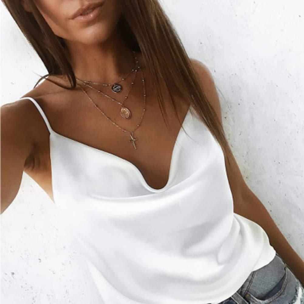 FADZECO Womens Camisole Adjustable Strap Tank Top Solid Color