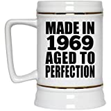 Birthday Gift Idea Made In 1969 Aged to Perfection - Beer Stein Ceramic Beer Mug Funny Happy Gag for Women Men Mom Dad Husband Wife Girl-Friend Boy-Friend Best-Friend