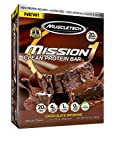 MuscleTech Mission1 Clean Protein Bars, Ultimate Baked Protein Bar, High Protein, Low Fat, Chocolate Brownie, 2.12 Ounce (Pack of 4 - 60g)