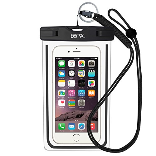 EOTW IPX8 Wasserdichte Tasche, Wasser- und staubdichte Hülle für Geld, Datenträger und Smartphones bis 15,24 cm (6 Zoll), Ideal für den Strand, Wassersport, fürs Radfahren, Angeln, usw.(Schwarz)