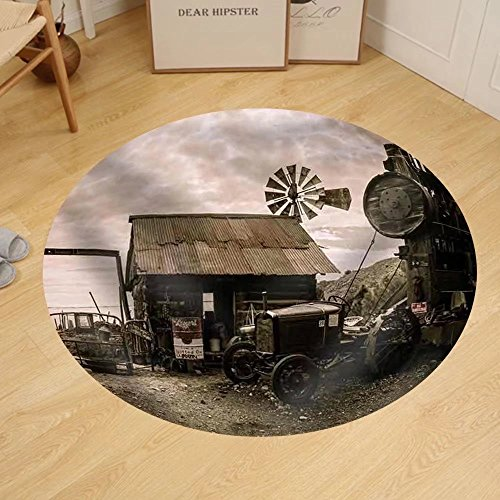 Gzhihine Custom round floor mat Jerome Arizona Ghost Town Mine Windmill and Old Block - Mill Arizona