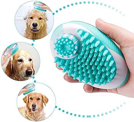 Cepillo de Goma para Mascotas con dispensador de champ/ú Integrado Cepillo de Masaje con champ/ú iwobi Cepillo de Masaje para Mascotas Cepillo para Perros y Gatos