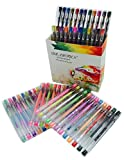 Light Fun Top Quality (60 PACK)Gel Pens Includes Metallic, Glitter, Pastel, Neon, Fluorescent, Rainbow, Classic. Non-Toxic.